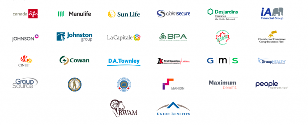Logos of the insurance companies that The ScoliClinic can directly bill to